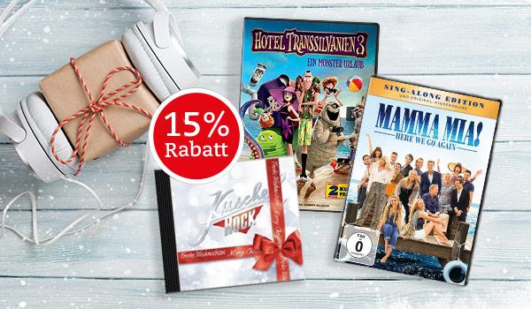 15% Gutschein für Filme und Musik